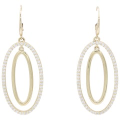 Diamond Oval Hoop Earrings, 1.10 Carat