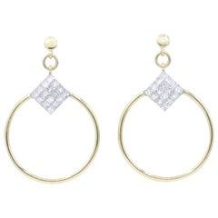 Diamond Princess Cut Hoop Earrings, 4 Carat