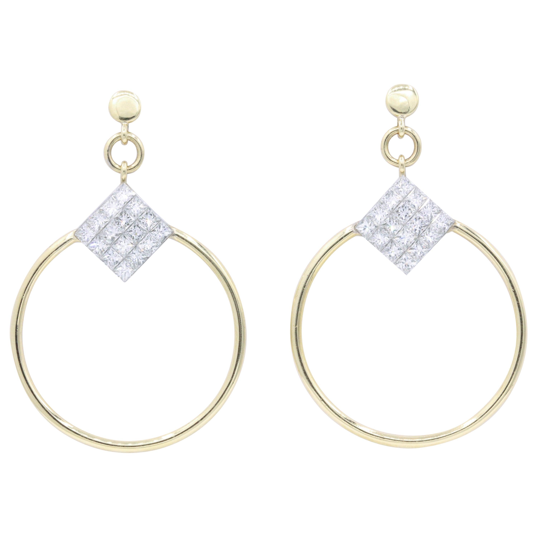 Diamond Princess Cut Hoop Earrings 4 Carat 18K Gold
