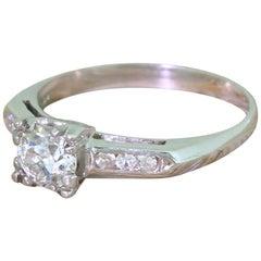 Art Deco 0.59 Carat Old Cut Diamond Engagement Ring