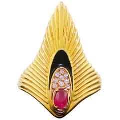 Erte 14 Karat Gold Peacock Rayonnement Ring Diamonds Ruby Limited Edition