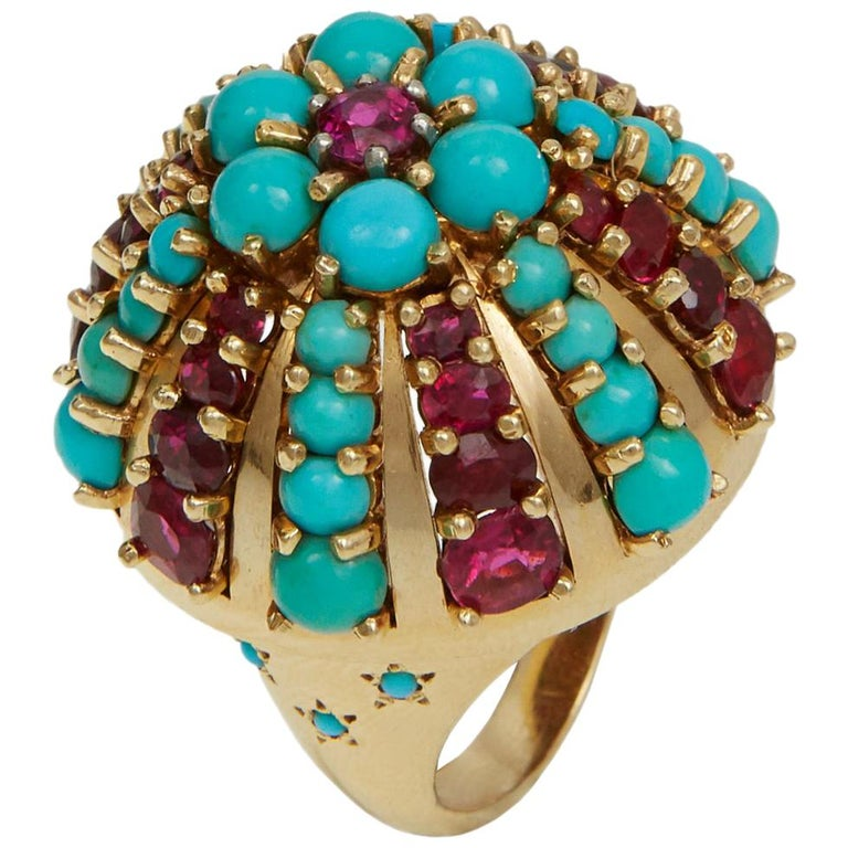 1960s Illario, Ruby, Turquoise and Gold Ring