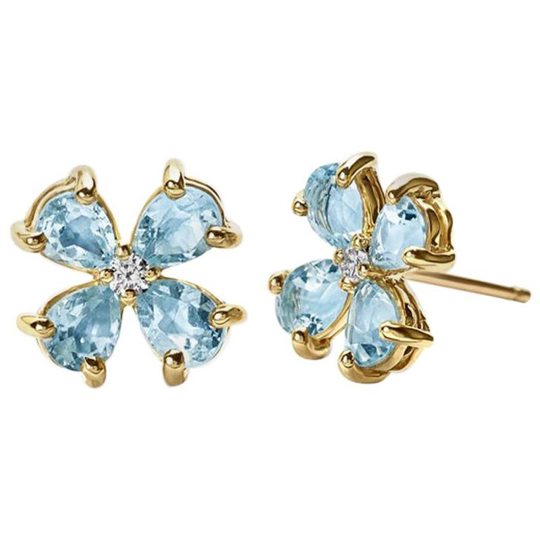 Cassandra Goad Small Klover Blue Topaz Yellow Gold Earrings