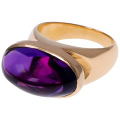 1970s Tuk Fischer for Georg Jensen Amethyst and Gold Ring