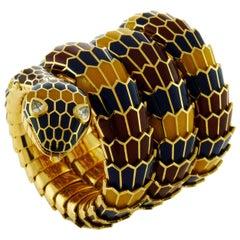 18 Karat Yellow Gold and Colored Enamel Serpent Bracelet-Watch by Bvlgari