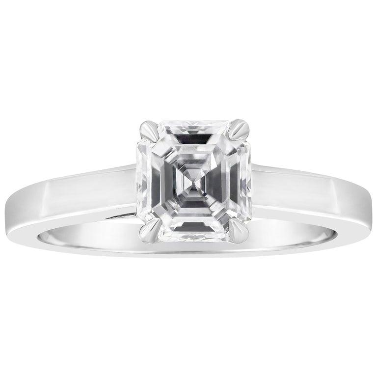 1.02 Carat Asscher Cut Diamond Solitaire Engagement Ring