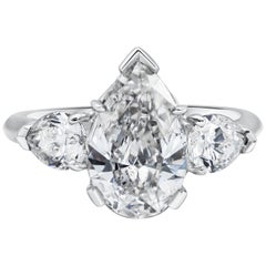 GIA Certified 1.88 Carat Pear Shape Diamond Three-Stone Engagement Ring