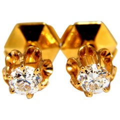 .50 Carat Natural Round Single Cut Diamond Stud Earrings 14 Karat Victorian