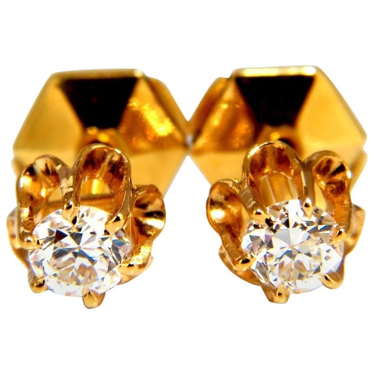 .50 Carat Natural Round Single Cut Diamond Stud Earrings 14 Karat Victorian