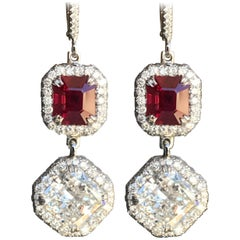 8 Carat + TW Vivid Electric Red Burma Ruby and Diamond Earrings, Ben Dannie