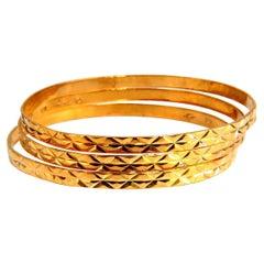 Petite Girls '3' Stackable Bangle Bracelets 14 Karat