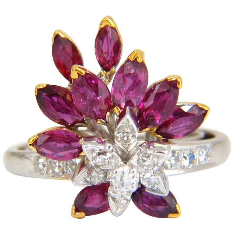 2.05 Carat Natural Ruby Diamonds Cocktail Ring 14 Karat