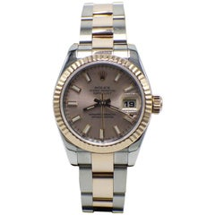 Rolex Ladies Datejust 179171 Pink Dial 18K Rose Gold & Stainless Steel Box Paper