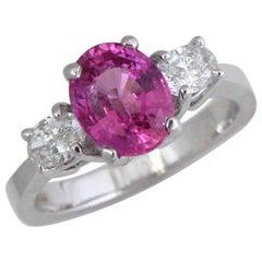 Vivid Pink Sapphire 2.30 Carat Three-Stone Ring 18 Karat White
