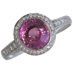 2.76 Carat Pink Sapphire and Diamond and Platinum Cocktail Ring