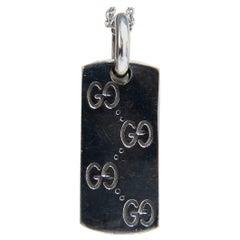 GG Designer 14 Karat Gold Dog Tag Charm Long Necklace 14 Karat