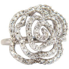 1.00 Carat Diamonds Raised Cluster Swirl Ring 14 Karat