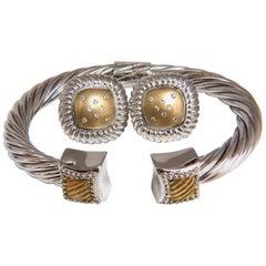 .26 Carat Diamonds Earrings, Bangle Set 14 Karat and Silver