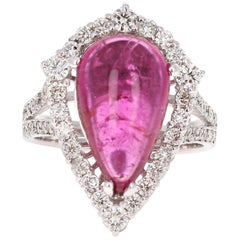 7.02 Carat Cabochon Pear Cut Tourmaline and Diamond 18 Karat White Gold Ring