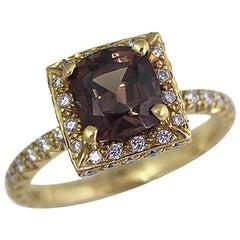 2.37 Natural Garnet Diamond Engagement Ring Set in 18 Karat, Ben Dannie