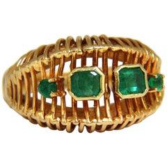 1.30 Carat Natural Emeralds Dome Grill Vintage Ring 18 Karat