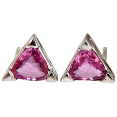 1.38 Carat Natural Vivid Pink Trilliant Sapphire Stud Earrings 14 Karat