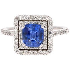 2.56 Carat GIA Certified Blue Sapphire Engagement Ring 18 Karat White Gold