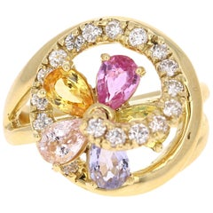 3.12 Carat Multicolored Sapphire Diamond 18 Karat Yellow Gold Cocktail Ring