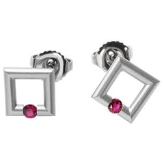 Steven Kretchmer Platinum Micro Square Stud Earrings with Tension-Set Rubies