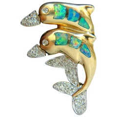 14 Karat .20 Carat Dolphin 3D Natural Brilliant Opal Diamond Brooch Pin