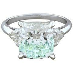 5.05 Carat Diamond Cushion Cut J/K-SI3 Gold Engagement Ring
