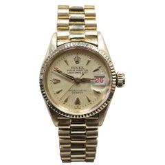 Vintage Rolex Ladies President Datejust 6517 18 Karat Yellow Gold