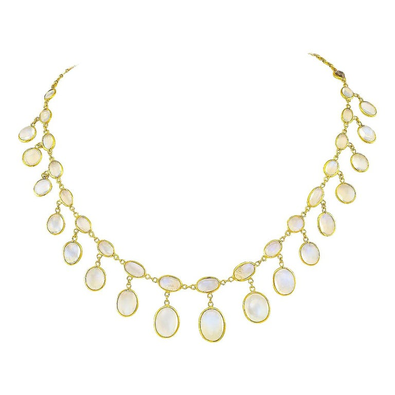 French Antique Moonstone Gold Necklace, circa 1900 For Sale
