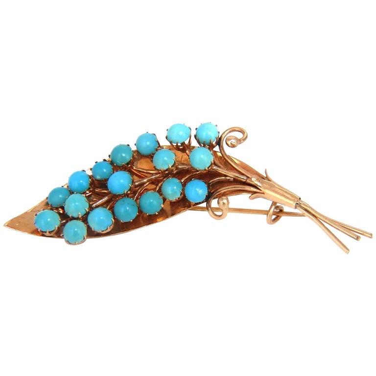 1940s Persian Turquoise Leaf Pin Handmade 14 Karat Rose Gold