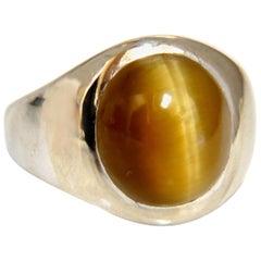 8.00 Carat Men's Tiger Eye Ring 14 Karat