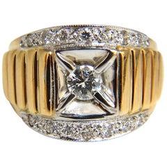 .55 Carat Men's Diamond Ring 14 Karat Cowboy Deco Polo and Grill Patina