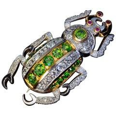 Demantoid Garnet Diamond Platinum Gold Insect Beetle Pin