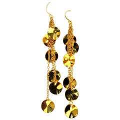 High Shine Finish 12 Petals Dangle Earrings 18 Karat 3D