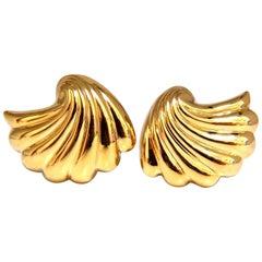 14 Karat Shell Form 3D Clip Earrings