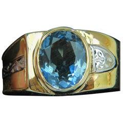2.00 Carat Natural Aquamarine Diamond Ring Solitaire Deco 14 Karat