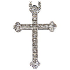 .25 Carat Natural Diamonds Cathedral Cross Pendant and Chain g/vs 14 Karat