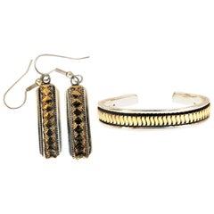 Designer C. Harrell Dangling Earrings and Bangle Bracelet 14 Karat and 925
