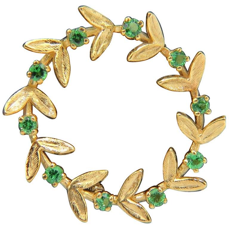 14 Karat .65 Carat Natural Green Tsavorite Brooch Pin