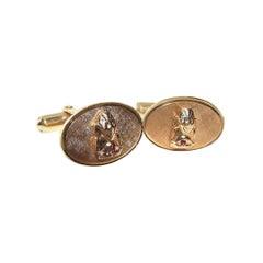 Unknown Design Cufflinks or Stud Set 14 Karat Gold Heavy