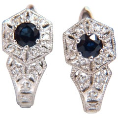 1.30 Carat Natural Blue Sapphire Lever Clip Earrings 14 Karat
