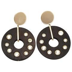Ebony Kunzite Gold Earrings