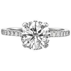 2.31 Carat Round Brilliant Cut Diamond Engagement Ring on 18 Karat White Gold