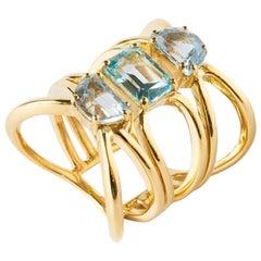 Aquamarine Gold Band Ring