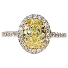 2.61 Carat Fancy Yellow Oval Diamond Engagement Ring
