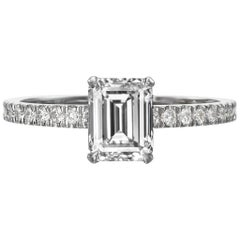 1.56 Carat Emerald Cut Diamond Engagement Ring on 18 Karat White Gold